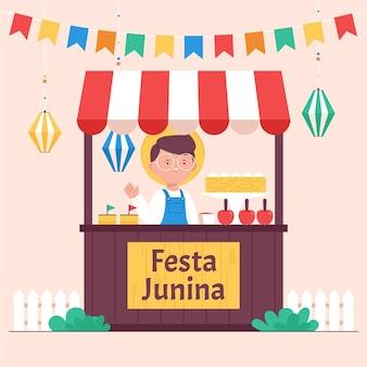 Illustrazione di festa junina piatta organica Vettore Premium