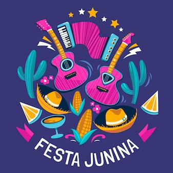 Illustrazione di festa junina piatta organica