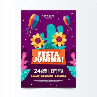 Modello di poster verticale piatto festa junina organico