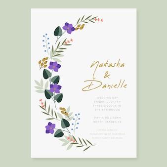 Modello di invito matrimonio floreale piatto organico