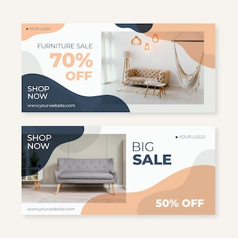 Banner di vendita di mobili piatti organici con foto