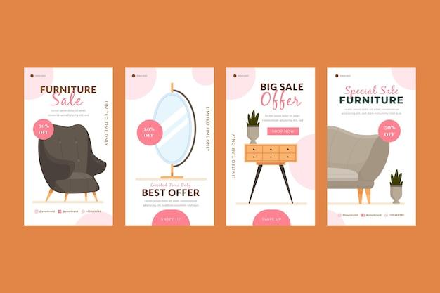 Collezione di storie instagram di vendita di mobili piatti organici