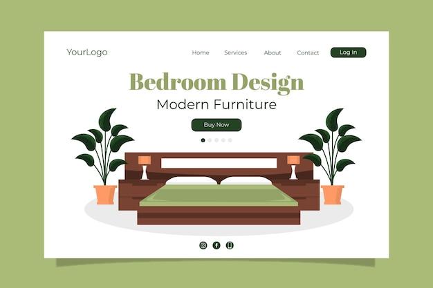 Modello di pagina di destinazione per la vendita di mobili piatti organici