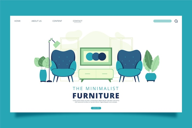 Pagina di destinazione della vendita di mobili piatti organici