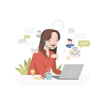Assistenza clienti illustrazione piatta organica