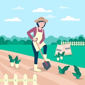 Professione di agricoltura biologica illustrazione piatta