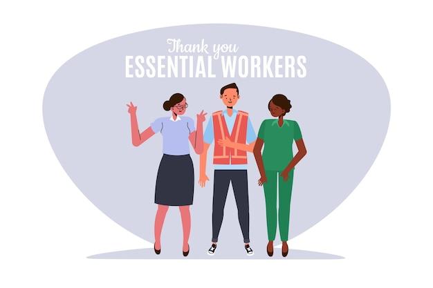 Illustrazione piatta organica grazie lavoratori essenziali
