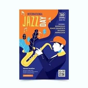 Modello di poster di giornata internazionale jazz piatto organico
