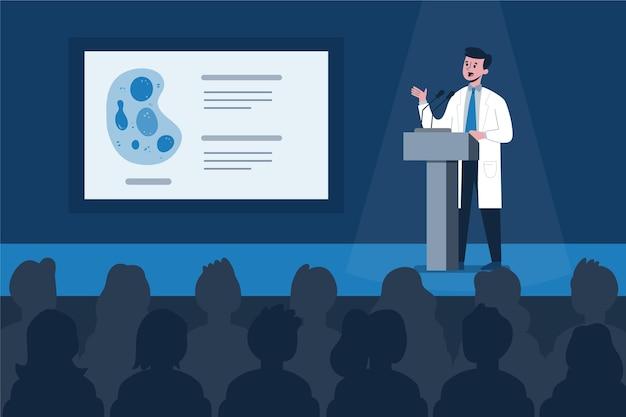 Illustrazione di conferenza medica piatta organica