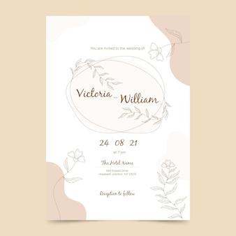 Modello di invito a nozze minimalista piatto organico