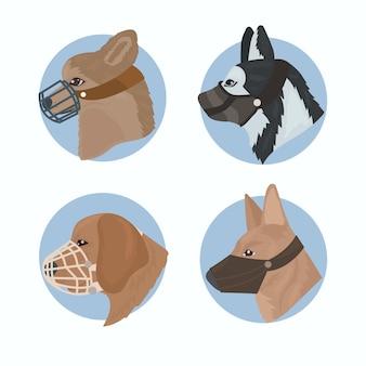 Set di animali con museruola piatta organici