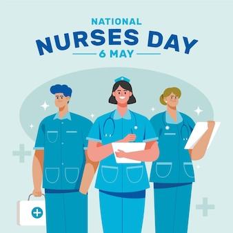 Illustrazione di giorno degli infermieri nazionali piatti organici