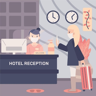 Nuovo normale piatto organico nell'illustrazione degli hotel