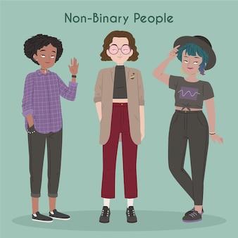 Illustrazione di persone non binarie piatte organiche