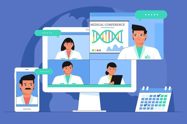 Conferenza medica online piatta organica