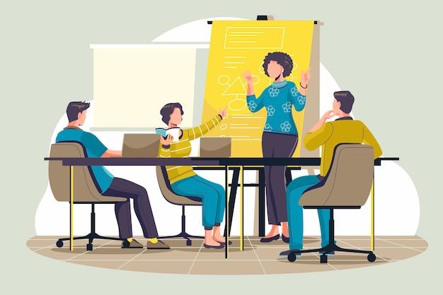 Gente piana organica sull'illustrazione di formazione aziendale