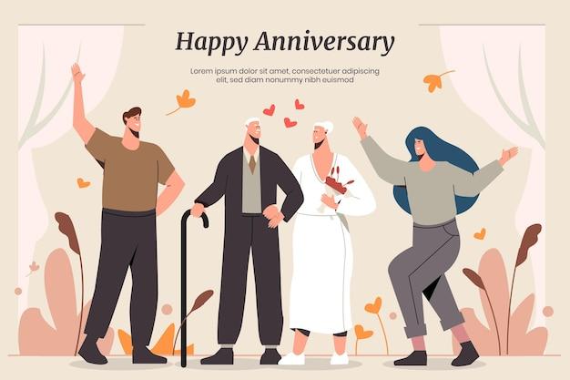 Persone piatte organiche che celebrano l'anniversario di nozze d'oro