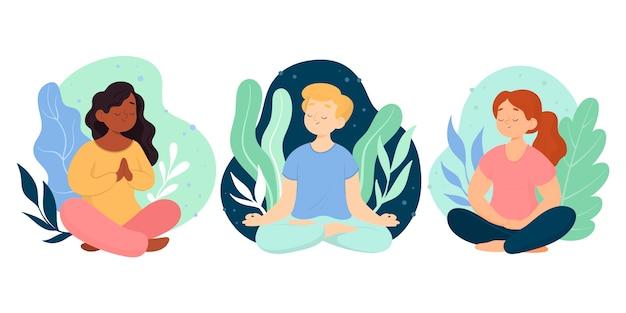 Persone piatte organiche meditando