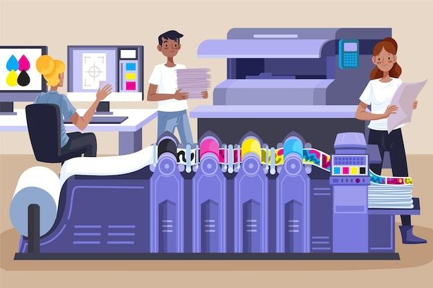 Illustrazione di industria della stampa piatta organica