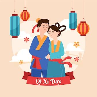 Organico piatto qi xi giorno illustrazione