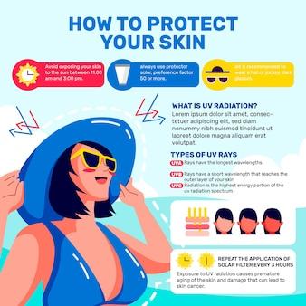 Infografica di protezione solare piatta organica