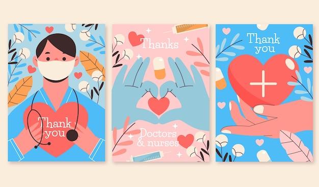 Collezione di cartoline organiche piatte grazie a medici e infermieri