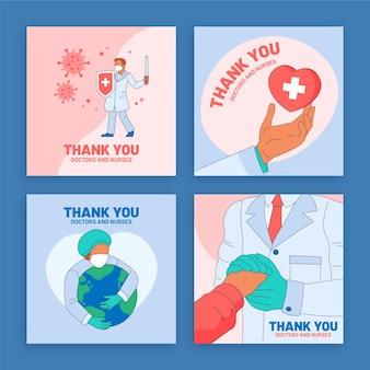 Set di cartoline organiche piatte grazie a medici e infermieri