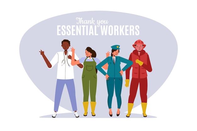 Piatto organico grazie illustrazione dei lavoratori essenziali