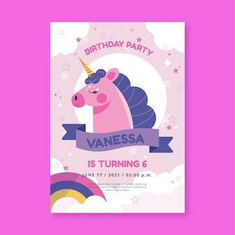 Modello di invito compleanno unicorno piatto organico