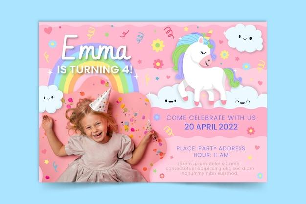 Invito di compleanno unicorno piatto organico con foto