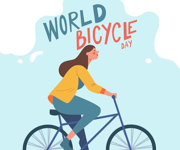 Illustrazione di giornata mondiale della bicicletta organica piatta