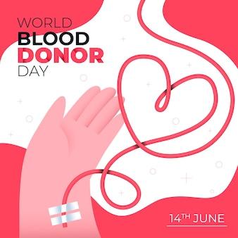 Illustrazione di giornata mondiale del donatore di sangue piatto organico