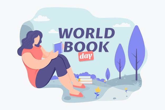 Illustrazione di giornata mondiale del libro piatto organico