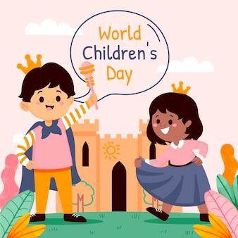 Illustrazione di giornata mondiale dei bambini piatti organici