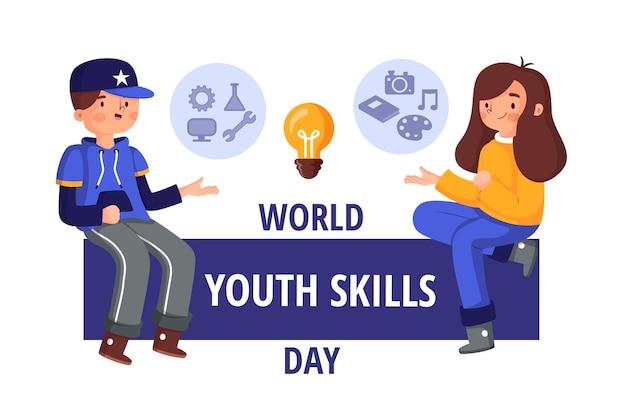 Illustrazione di giornata mondiale delle abilità della gioventù organica piatta