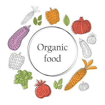 Banner di alimenti biologici con raccolta di verdure in stile grafico lineare. sfondo vettoriale. stile scandinavo