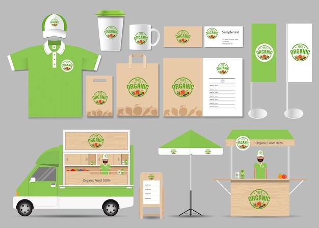 Identità del marchio di alimenti biologici mock up modello