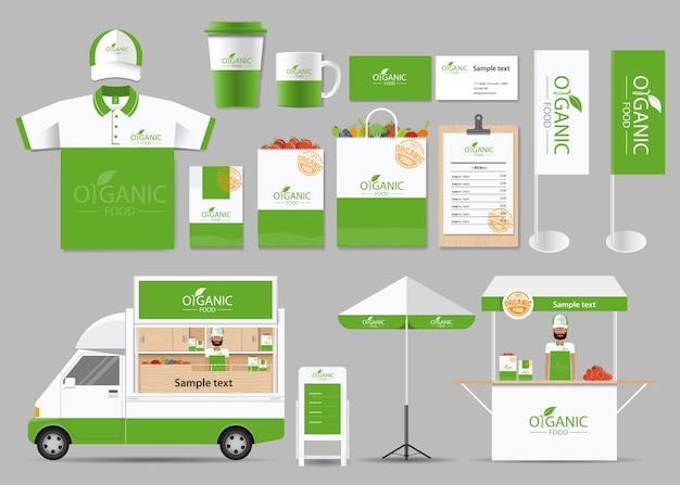 Identità del marchio di alimenti biologici con design del logo
