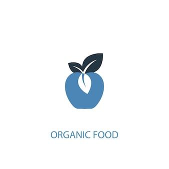Cibo biologico concetto 2 icona colorata. illustrazione semplice dell'elemento blu. disegno di simbolo di concetto di cibo biologico. può essere utilizzato per ui/ux mobile e web