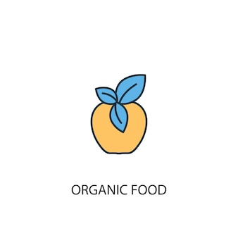 Concetto di cibo biologico 2 icona linea colorata. illustrazione semplice dell'elemento giallo e blu. disegno di simbolo di contorno del concetto di cibo biologico