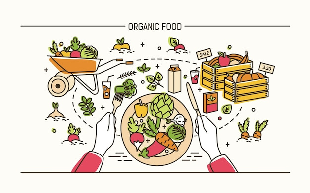 Concetto di cibo biologico. mani che tengono forchetta e coltello e piatto con pasto sano circondato da frutta, verdura, carriola, casse