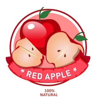 Design di alimenti biologici, etichetta rotonda rossa della mela