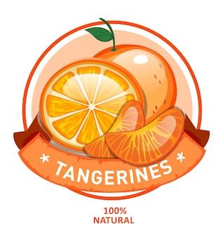 Progettazione di alimenti biologici, etichetta rotonda di mandarini