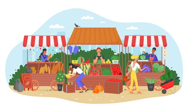 Illustrazione del mercato dell'azienda agricola dell'alimento biologico. carattere piano del venditore dell'agricoltore del fumetto che vende la frutta e la verdura fresche del raccolto alla stalla del mercato della via, la gente nella fiera locale della via isolata su bianco