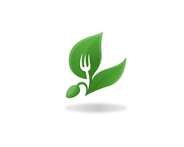 Cibo biologico cibo sano e etichetta logo vegana