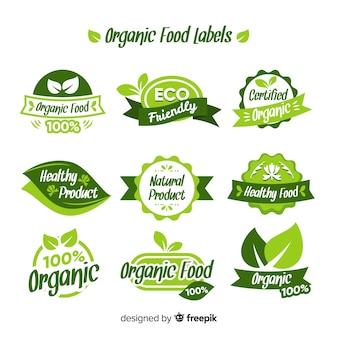 Collezione di etichette per alimenti biologici Vettore Premium