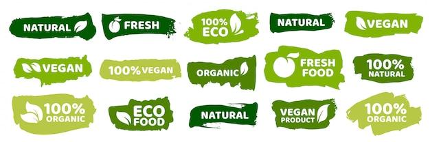 Etichette per alimenti biologici. set di prodotti vegetariani freschi ecologici, etichetta vegana e distintivi di cibi sani