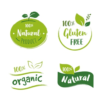 Collezione di logo di alimenti biologici