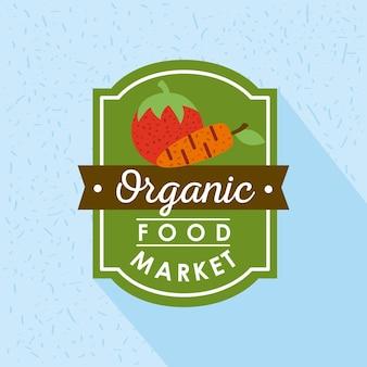 Icona del poster del mercato degli alimenti biologici