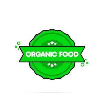Timbro per alimenti biologici. vettore. icona del distintivo di alimenti biologici. logo distintivo certificato. modello di timbro. etichetta, adesivo, icone. vettore env 10. isolato su priorità bassa bianca.